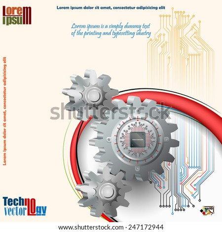 Abstract technology background;Processor Chip attached to cog wheel and in background electronic circuit as symbol of technology. - stock vector