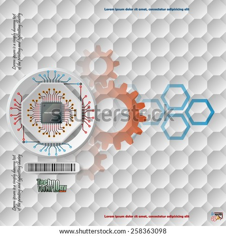 Abstract technology background;Processor Chip attached to white device connected with other circuit ; White three dimension machinery printed with circuits.Complex geometric pattern.  - stock vector