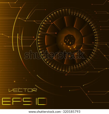 Abstract technology background. round metal elements and lines. vector