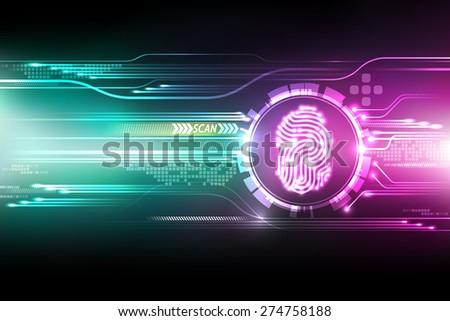 Abstract technology background.Security system concept with fingerprint Letter P sign.Vector illustration - stock vector