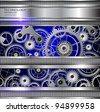 Abstract technology background, silver metallic machinery gears. - stock vector