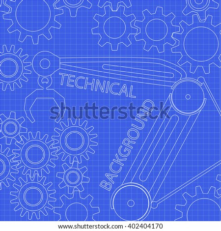 Abstract technology background. Vector blueprint. Technology illustration on graph paper. - stock vector