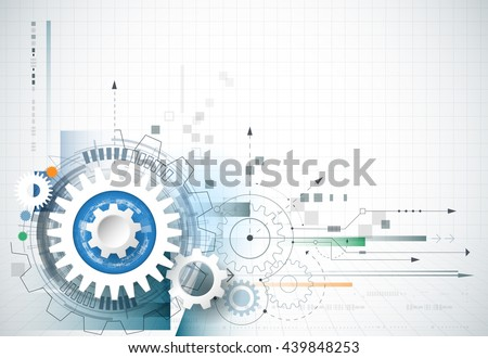 Abstract technology background. Vector gear wheel, hexagons and circuit board, Abstract hi-tech, engineering, machine, technology concept. Abstract futuristic technology on light blue color background - stock vector