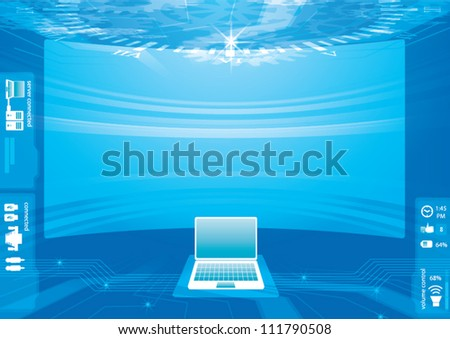 Abstract technology background - vector illustration control room abstract background big screen hi technology - stock vector