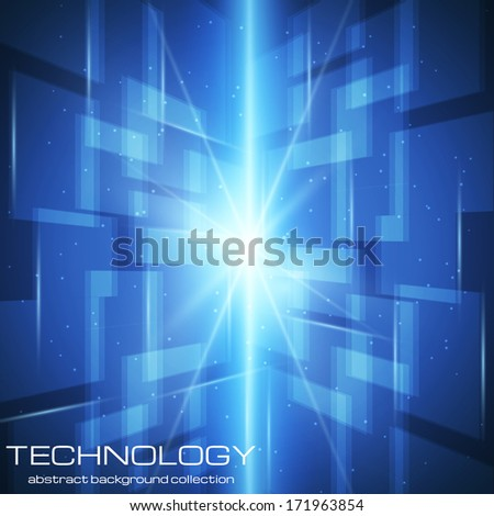 Abstract technology background with bright flare. Vector illustration.