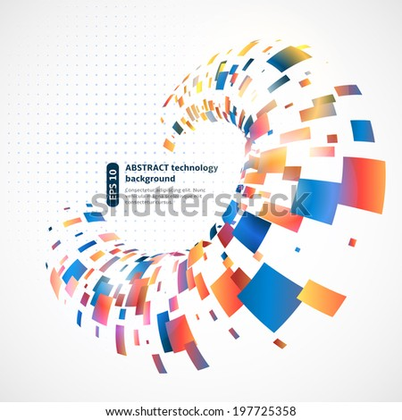 Abstract technology background with colored rectangles - stock vector