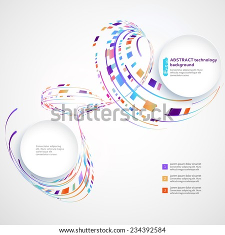 Abstract technology background with colored rectangles and lines - stock vector