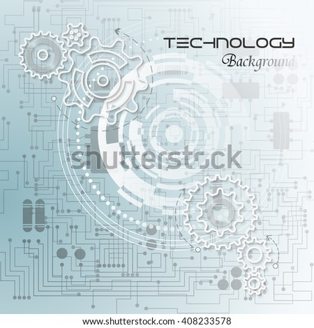 Abstract technology background with gears on the motherboard. Vector illustration.
