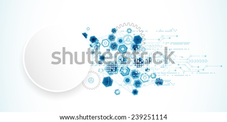 Abstract technology background with hexagonal shapes - stock vector