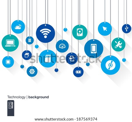 Abstract technology background with lines, circles and flat icons. Hanged tags concept contains mobile phone, technology, laptop, cloud computing, usb, pad and router icons. Vector illustration. - stock vector