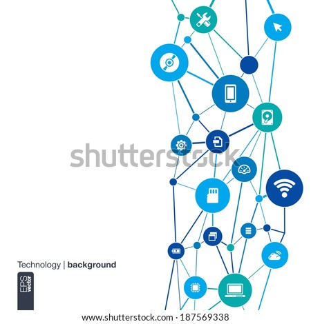 Abstract technology background with lines, circles and flat icons. Infographic concept with mobile phone, circuit, technology, laptop, cloud computing, usb, pad and router icons. Vector illustration.  - stock vector