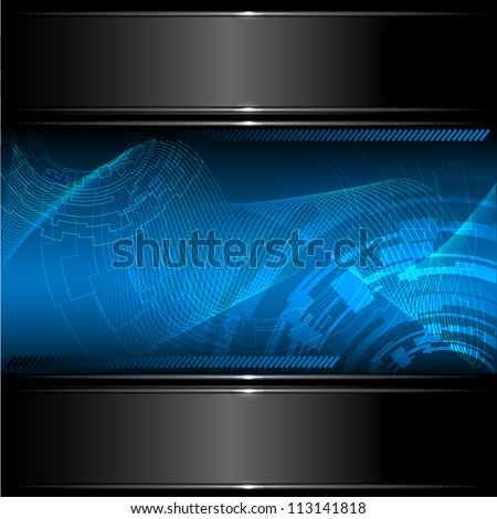 Abstract technology background with metallic banner. Vector eps10. - stock vector