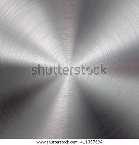 Abstract technology background with polished, brushed circular metal texture, chrome, silver, steel, aluminum for design concepts, web, prints, posters, wallpapers, interfaces. Vector illustration. - stock vector