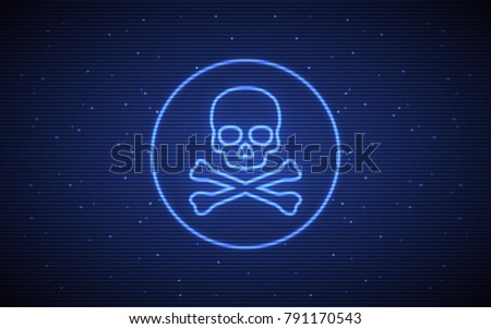 Abstract Technology Background Skull Crossbones Symbol Stock Vector