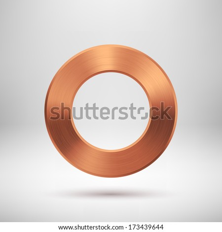 Abstract technology blank donut button template with bronze metal texture (chrome, steel, silver, copper), realistic shadow and light background for web user interfaces (UI) and applications (apps). - stock vector