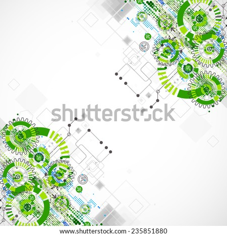 Abstract technology business green colored template background. Vector illustration - stock vector