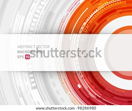 Abstract technology circles and transparent paper vector background - stock vector