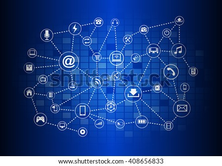 Abstract Technology circuit background with icon
