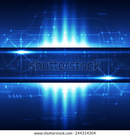 Abstract technology concept blue background. Vector illustration - stock vector