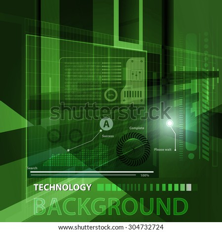 Abstract technology contour objects.Financial business presentation. Light futuristic concept, digital light and dark green. Vector modern background