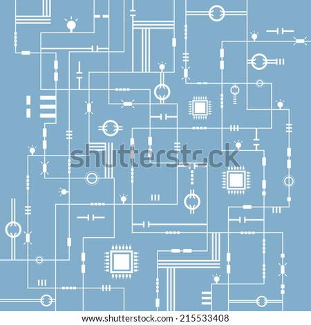 abstract technology electric circuit background, vector illustration - stock vector