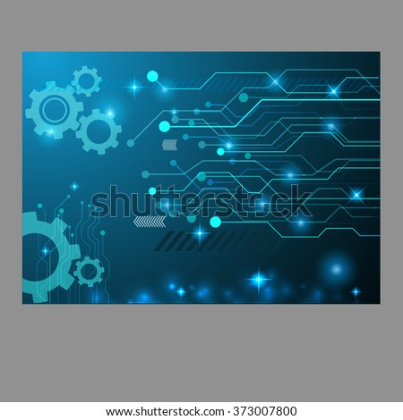 Abstract technology gear circuit board, Vector background eps 10 design - stock vector