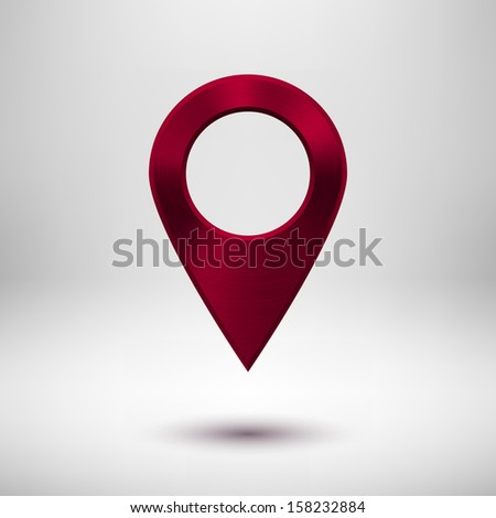 Abstract technology gps map pointer badge, button template with maroon (red) metal texture (chrome), realistic shadow and light background for interfaces (UI), applications (apps) and presentations. - stock vector