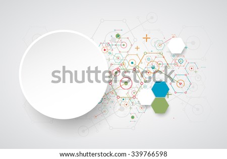 Abstract  technology hexagonal background. Connection structure. Vector - stock vector