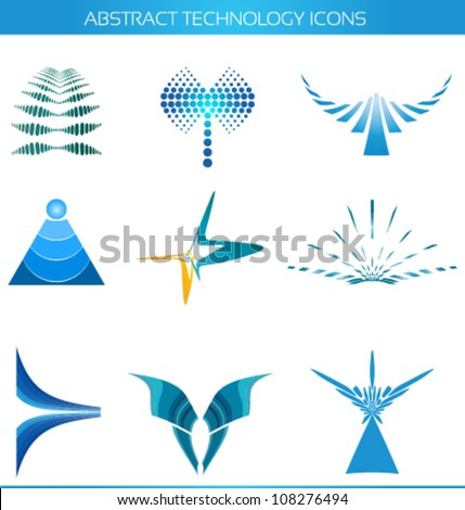 abstract technology icons, logo designs - stock vector