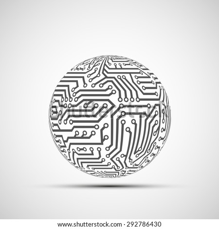 Abstract Technology logo. Ball from the circuit. Stock Vector. - stock vector