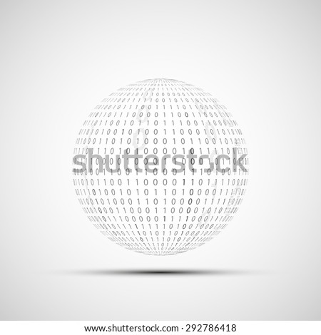 Abstract Technology logo. Ball of binary code. Stock Vector. - stock vector