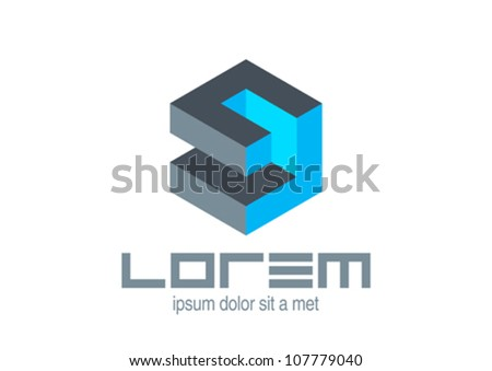 Abstract Technology logo template. Logic puzzle cube.  Vector icon. Editable. - stock vector