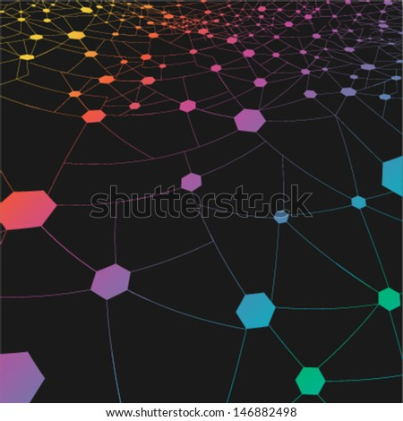 abstract technology network background, ideal for business concept or social media concept works - stock vector
