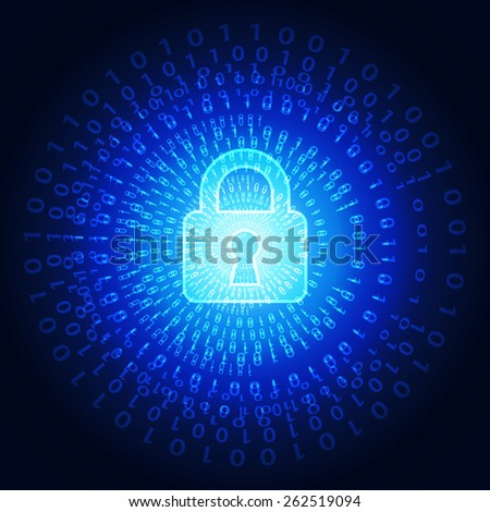 Abstract technology security on global network background, vector illustration - stock vector
