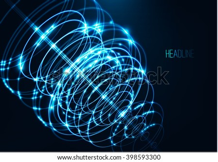Abstract technology shape of glowing particles .Neon luminous circles .Rays / laser light . Energy explosion , Circle waves at motion .Futuristic background .Vector digital 3d illustrations - stock vector