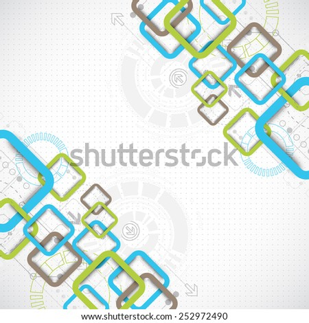Abstract technology square background - stock vector