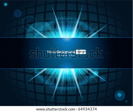Abstract technology squares with lens flare vector background - stock vector