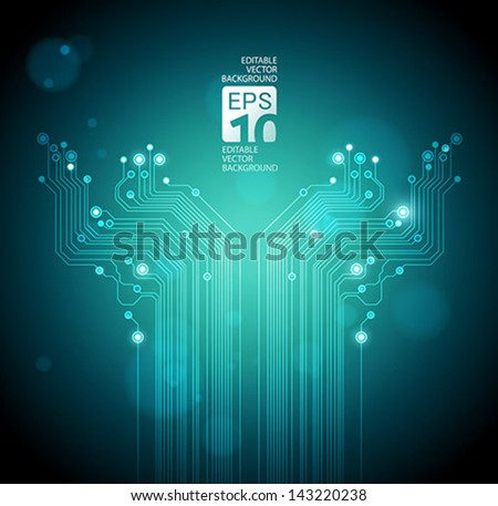 abstract technology tree background - vector - stock vector