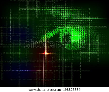 Abstract  technology trendy vector background with  binary code. - stock vector