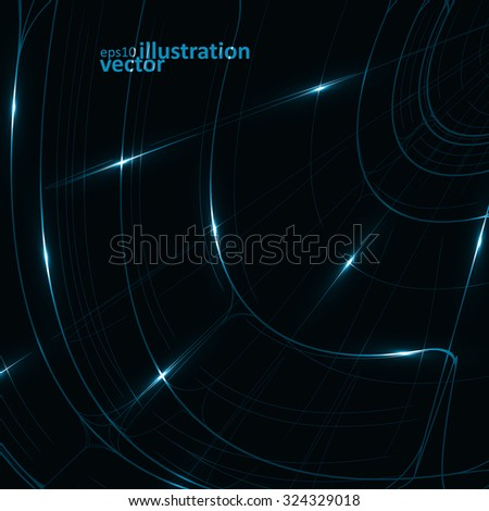 Abstract technology, vector technical drawing, shiny space background eps10 - stock vector