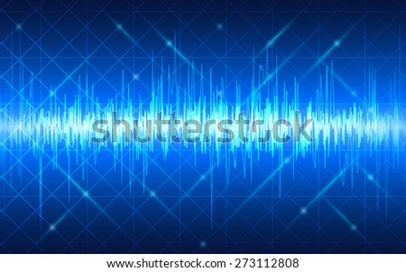 abstract technology wave pattern and grid on dark blue background (vector)