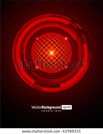 Abstract technology wire sphere vector background - stock vector