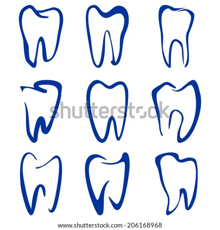 Abstract  teeth set sketch cartoon vector illustration - stock vector