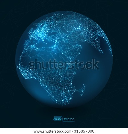 Abstract Telecommunication Earth Map | Communication concept - EPS10 vector design - stock vector