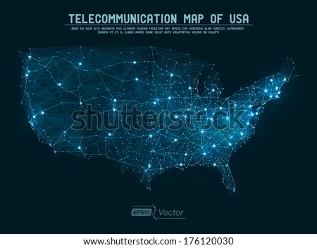 Abstract telecommunication network map - USA Detailed EPS10 vector design - organized layers - stock vector