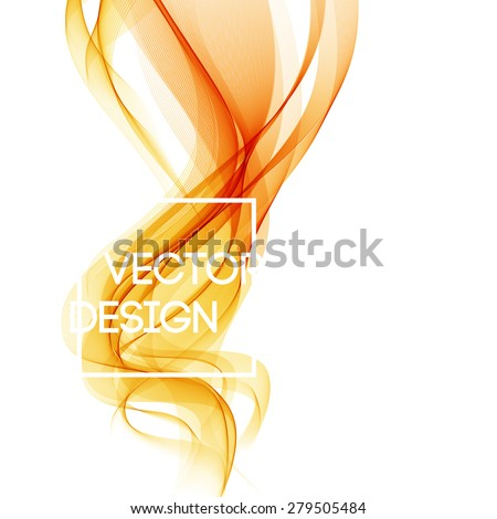 Abstract template background with orange curved wave. Wavy lines - stock vector