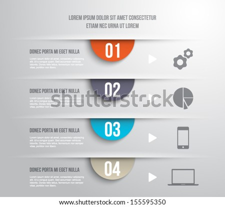 Abstract template banner with cut papers for business design, infographics, reports, progress, number options, diagram, step presentation, websites or workflow layout. Modern and clean style - stock vector