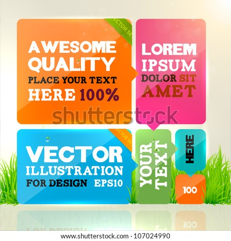 Abstract template design for business background. Colorful cubes with ribbons with place for text. Grass, water drops and sun shine for fresh business design. - stock vector