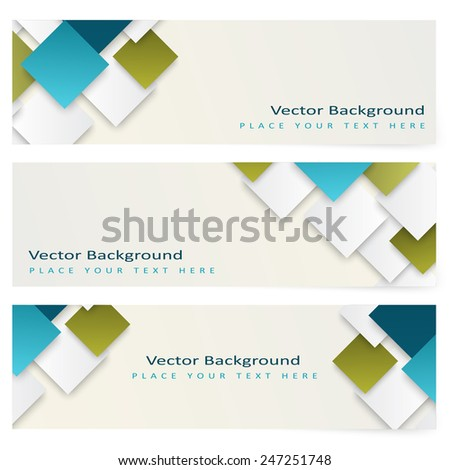 Abstract template horizontal banner with color squares - stock vector