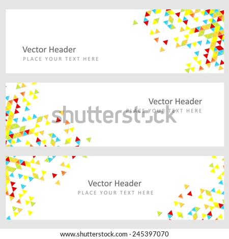 Abstract template horizontal banner with color triangle pattern
